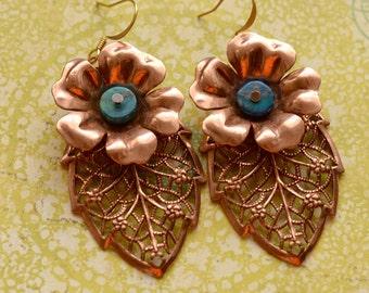 Great Gift,Floral Accessory, Boho Copper Jasper Earrings,Flower Earrings, Leaf Jewelry, Copper Filigree Leaf, Leaf Earrings, Copper Earrings