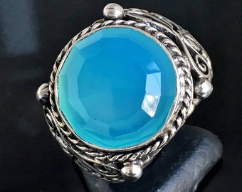 925 Sterling Silver Mens Ring with Blue Chalcedony unique handcrafted artisan jewelry
