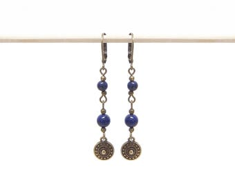 Earrings blue beads and bronze charms