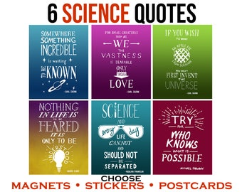 Inspirational Quotes by Women in Science, Carl Sagan, Faraday. Motivational Art Vinyl Stickers, Magnets or Postcards. Hand Lettered Art