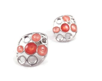coral pink studs pink silver earrings for women everyday earrings colorful jewelry enamel jewelry art jewelry pink post earrings