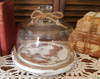 Vintage Glass Cloche Display Dome with Distressed Wood Base, Rustic Home Decor, Shabby Chic, Cottage, French Country, Farmhouse Decor
