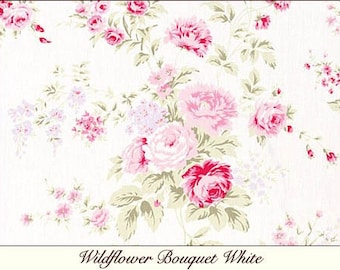Rachel Ashwell Shabby Chic Wildflower Bouquet White Pink flowers Floral Fabric Roses by yard
