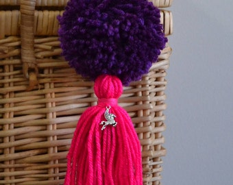 Purple and Pink Pom Pom & Tassel Clip-on with Pegasus Charm -  Keychain, Beach Bag or Backpack Flair Clip