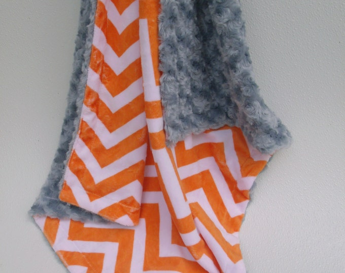 Orange Chevron with Charcoal Rose Swirl Baby Blanket, Orange Chevron and Gray Baby Blanket,