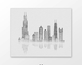 Chicago skyline art printable - Hand drawn city illustration - Monochrome line drawing wall decor - Instant download