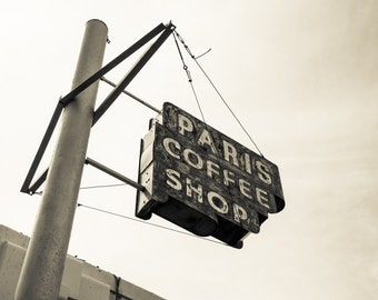 Fort Worth, Texas, Neon Sign, Rustic, Vintage - Paris Coffee Shop Sign Sepia