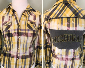 GIRLS upcycled distressed cozy flannel with a Michigan patch size L