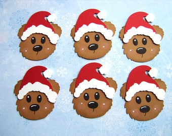 6 Handmade Santa Bear Heads Christmas Embellishments for cardmaking crafts scrapbook scruffy bears with santa hats