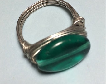 Size 6.5 Green Glass Bead Wire Wrapped Ring