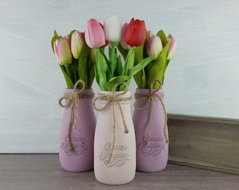 "Painted vases ""lilac and white tulips""-centerpieces-Home Decor-Centerpieces"