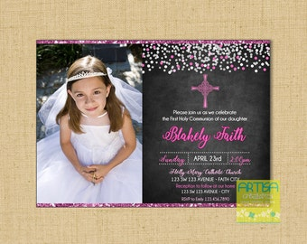 Girl First Communion Invitation, Girl First Holy Communion Invitations, Girl's Communion invitations, Modern First Communion for Girls