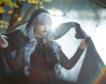 Dark Blue Hooded Cloak // long witchy cape with ribbon closure and bustled train