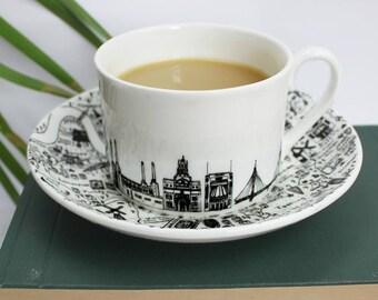 South West London teacup & saucer set - Fine Bone China