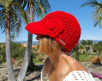 Crochet Red Baseball/Newsboy Hat/Cap
