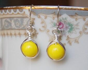 Yellow Earrings , Bridesmaid Earrings , Silver Drop Earrings , Bright Yellow Jewelry
