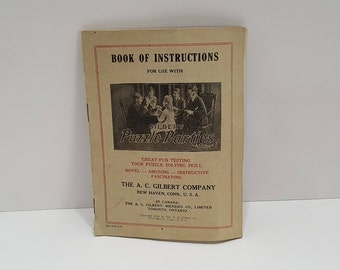 1920 Gilbert Puzzle Parties Book of Instructions New Haven, Connecticut