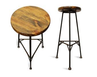 Reclaimed Wood Bar Stools, Metal Bar Stools, Industrial Bar Stool, Rustic Bar Stools, Rebar Furniture