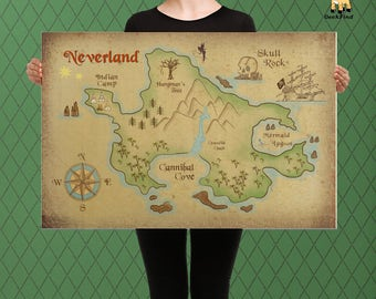 Peter Pan, Map of Neverland, Lost Boys and Captain Hook Custom Raised Canvas Art Piece