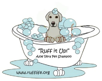 Dog Shampoo, aloe vera, all natural by Ruff Life. itchy skin, allergies, dry skin, hot spots, itchy feet, rashes, Ruff it up