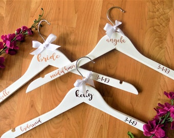 Wedding Dress Hanger, Bridesmaid Hanger, Bridesmaid Gift, Dress Hanger, White Wood Hanger, Will you be my, Bridesmaid Proposal, Personalized