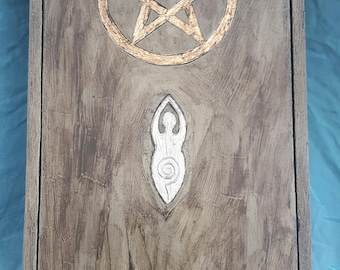 Handmade Unique Altar Box with handcarved Pentacle and hand cast pewter Goddess