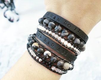 Black leather with Zebra stone wrap bracelet