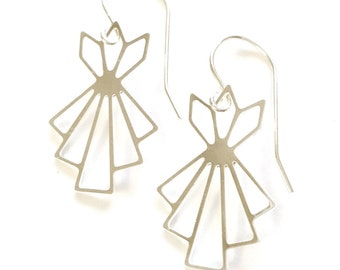 Art Deco Earings, Geometric earrings, signature earrings, Architectural jewelry, Bridesmaid, Geometric Earrings, christmas Jewelry gift