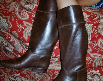 Designer, Leather Boots, Tall, Brown, Riding boot, Charles david, Spain, size 8.5