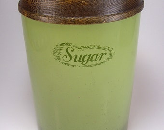 Vintage Sugar Canister, Metal,  Avocado Green with Pears and Grapes Lid, J Chein Co, Cheinco, Retro, 1970's