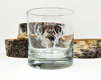 Whiskey Glass Personalized Engraved Antlers 11 oz. Bridal Party Gift Wedding Favors