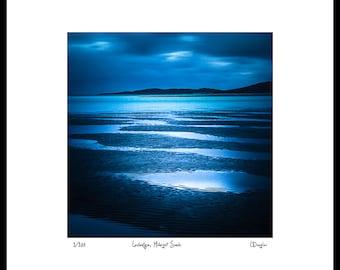 Moody Blue Beach Print - Oversized Art Print - Scottish Photography - Huge Wall Art - Navy Blue - Dramatic Art Scottish Landscape