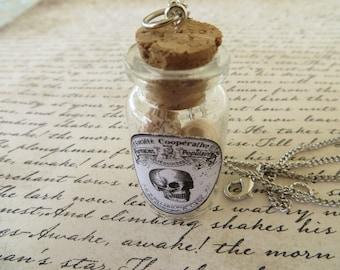 Apothecary Jar Of Skulls Pendant Necklace