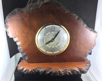 Vintage California Redwood Mantle Clock. Lanshire Clock Movement. Electric Redwood Clock. Mid Century. Wood Clock. man cave. rustic  decor