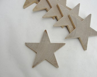 "6 Traditional 3 inch (3"") wooden stars, wood star, unfinished DIY"
