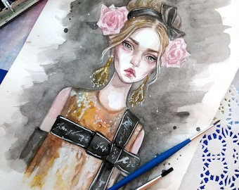 Original watercolor art. Fashion illustration.