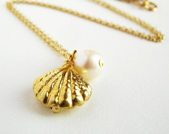Gold Sea Shell Necklace. Gold Clam Shell Pendant. 14k Gold Filled Pearl Chain Necklace. Beach Ocean White Pearl Gold Necklace AzizaJewelry