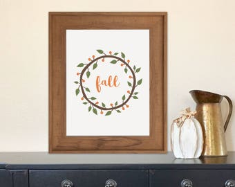 Fall Wreath Printable - Autumn, Berries, Branch, Wall Art, Decor, DIY, Seasonal