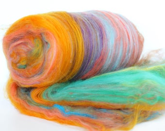 ZION 3.8 oz  Wool - Merino // Art Batt // Wool Art Batt for spinning or needle felting