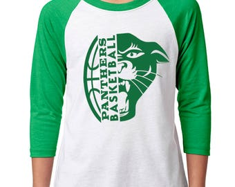 Youth Panther Basketball Raglan - School Spirit - Panthers - Unisex 3/4 Sleeve Green/White Baseball Tee