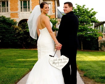 Wedding Sign, And they lived Happily ever after with Wedding Date & He swept her off her feet. 11 1/2 X 14 1/2 in. 2-Sided. Photo Prop.
