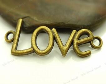 Bulk 18 Love Connectors Curved 35x13mm Antique Bronze Tone Metal - 2 Loop Links, Message Pendants - BC26