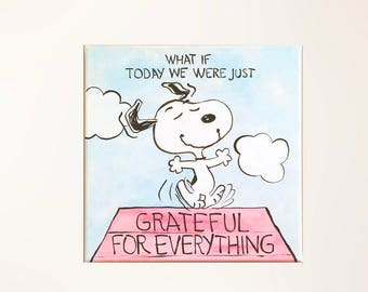"""Hand-painted Peanuts Snoopy painting on 12""""x12"""" canvas. Any character, any quote! Completely customized."""