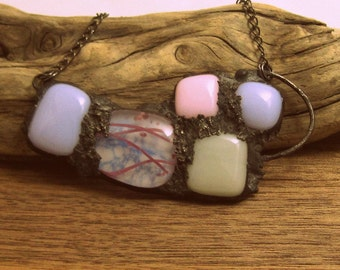 Urban Artifact | Fused Glass | Pink and Mauve | Eclectic Jewelry