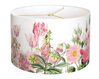 LARGE Linen Pink Garden Party Drum Lamp Shade - Shabby Chic Pink Flower Lampshade - 13 14 15 Inch Lamp Shade - Custom Made to Order
