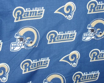 "St. Louis Rams Football Team NFL Fabric Blue, Gold and White 100% Cotton 58"" Wide Sold by the Half Yard"