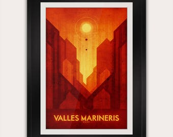 Space Travel Poster - Mars - Valles Mariners - Minimalist Art Print