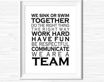 Office Wall Art Printable Teamwork Quotes Office Success Quotes Cubicle Decor Inspirational Quote Office Motivation Leadership Quotes