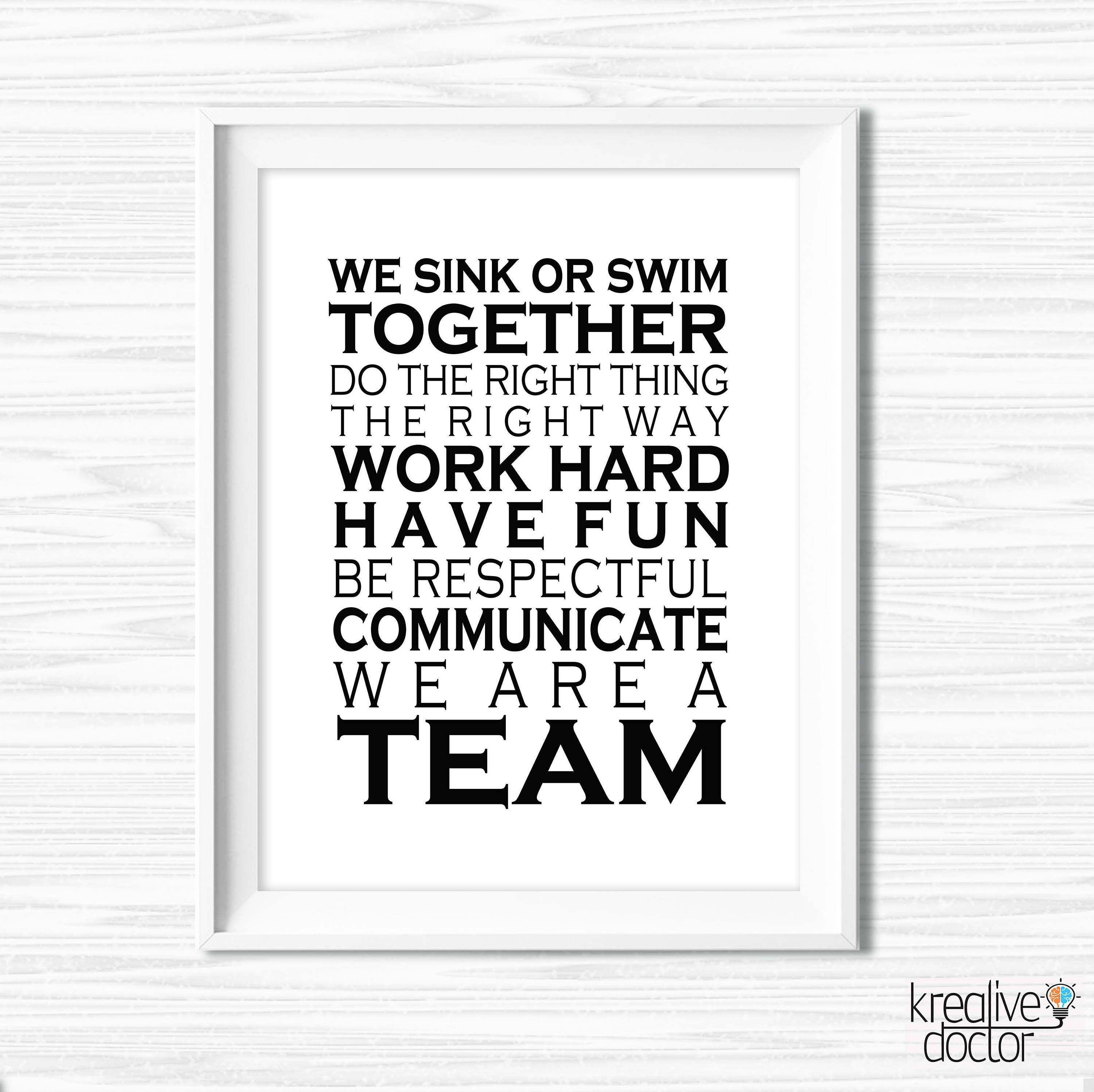 Office Wall Art Printable Teamwork Quotes Office Success