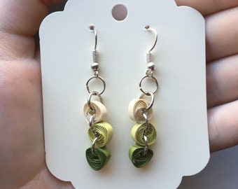Green Quilled Ombre Earrings